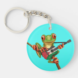 Tree Frog Playing Palestinian Flag Guitar Blue Double-Sided Round Acrylic Keychain