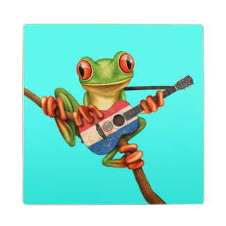 Tree Frog Playing Paraguay Flag Guitar Blue Wood Coaster