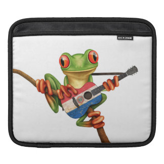 Tree Frog Playing Paraguay Flag Guitar White Sleeve For iPads