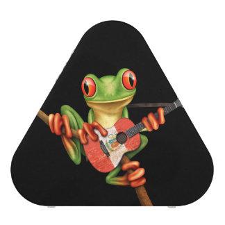 Tree Frog Playing Peruvian Flag Guitar Black Bluetooth Speaker