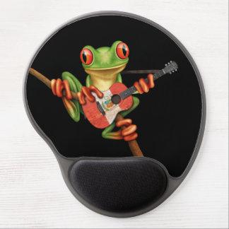 Tree Frog Playing Peruvian Flag Guitar Black Gel Mouse Pad