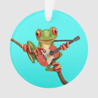 Tree Frog Playing Peruvian Flag Guitar Blue Ornament