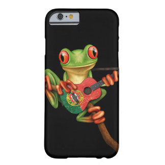 Tree Frog Playing Portuguese Flag Guitar Black Barely There iPhone 6 Case