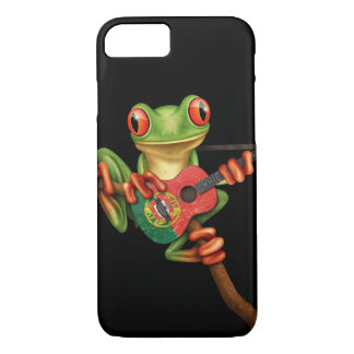 Tree Frog Playing Portuguese Flag Guitar Black iPhone 7 Case