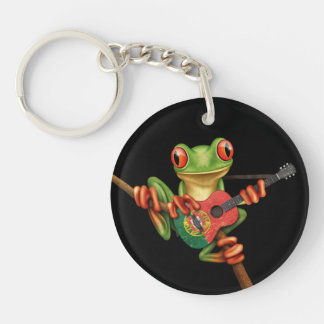 Tree Frog Playing Portuguese Flag Guitar Black Keychain