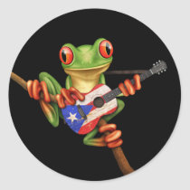 Tree Frog Playing Puerto Rico Flag Guitar Black Classic Round Sticker