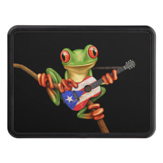Tree Frog Playing Puerto Rico Flag Guitar Black Trailer Hitch Covers