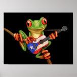 Tree Frog Playing Puerto Rico Flag Guitar Black Poster