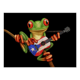 Tree Frog Playing Puerto Rico Flag Guitar Black Poster