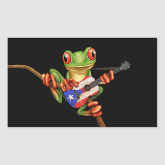 Tree Frog Playing Puerto Rico Flag Guitar Black Rectangle Sticker