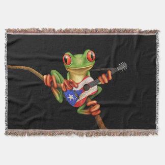 Tree Frog Playing Puerto Rico Flag Guitar Black Throw