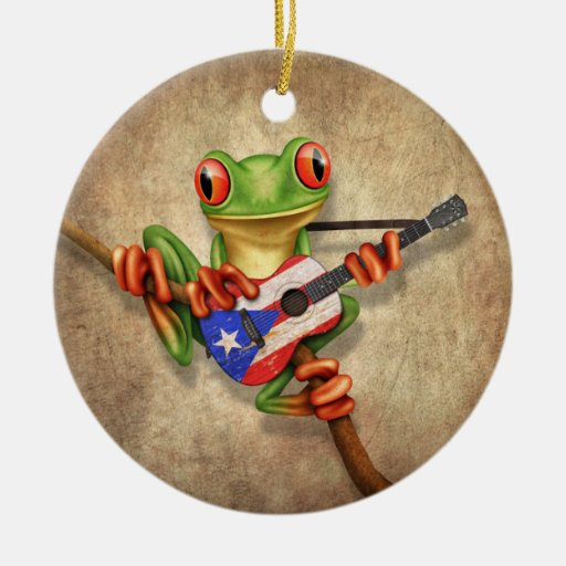 Tree Frog Playing Puerto Rico Flag Guitar Ceramic Ornament