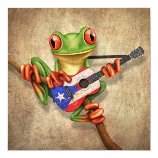 Tree Frog Playing Puerto Rico Flag Guitar 5.25x5.25 Square Paper Invitation Card