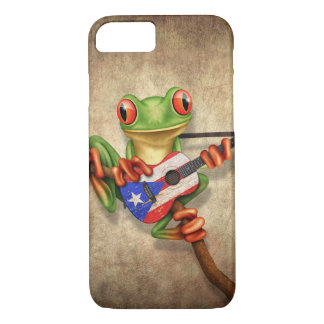 Tree Frog Playing Puerto Rico Flag Guitar iPhone 7 Case