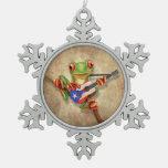 Tree Frog Playing Puerto Rico Flag Guitar Snowflake Pewter Christmas Ornament