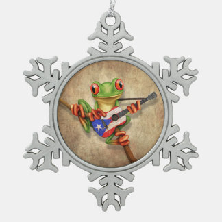 Tree Frog Playing Puerto Rico Flag Guitar Ornament