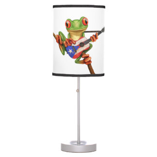 Tree Frog Playing Puerto Rico Flag Guitar White Table Lamps