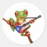 Tree Frog Playing Puerto Rico Flag Guitar White Round Sticker