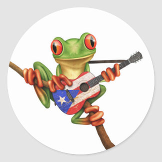 Tree Frog Playing Puerto Rico Flag Guitar White Round Sticker