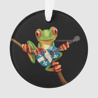 Tree Frog Playing Quebec Flag Guitar Black Ornament