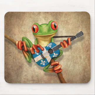 Tree Frog Playing Quebec Flag Guitar Mouse Pad
