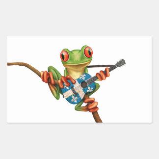 Tree Frog Playing Quebec Flag Guitar White Rectangular Sticker