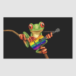 Tree Frog Playing Rainbow Flag Guitar Black Rectangular Sticker