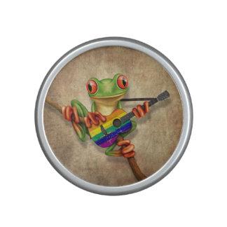 Tree Frog Playing Rainbow Flag Guitar Bluetooth Speaker