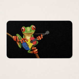 Tree Frog Playing Romanian Flag Guitar Black Business Card
