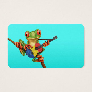 Tree Frog Playing Romanian Flag Guitar Blue Business Card