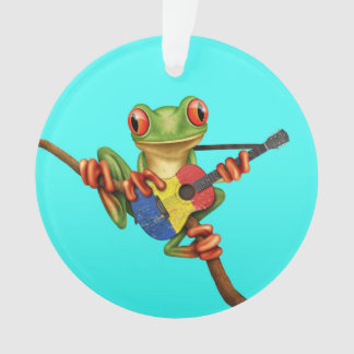 Tree Frog Playing Romanian Flag Guitar Blue Ornament