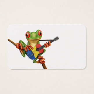 Tree Frog Playing Romanian Flag Guitar White Business Card