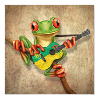 Tree Frog Playing Saskatchewan Flag Guitar 5.25x5.25 Square Paper Invitation Card
