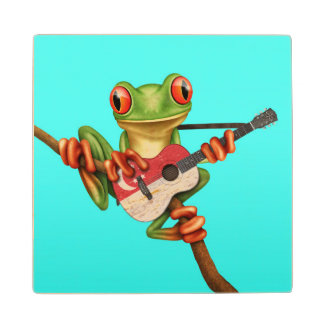 Tree Frog Playing Singapore Flag Guitar Blue Wood Coaster
