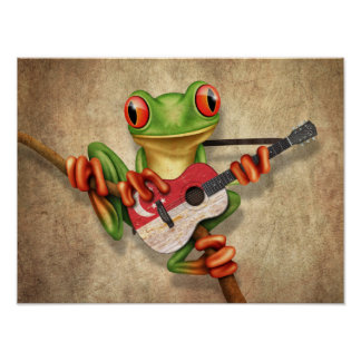 Tree Frog Playing Singapore Flag Guitar Poster