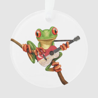 Tree Frog Playing Singapore Flag Guitar White Ornament