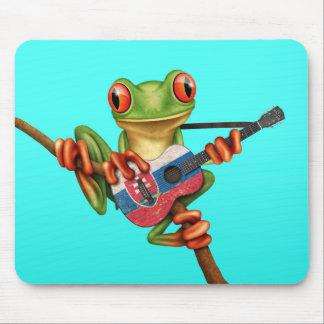 Tree Frog Playing Slovakian Flag Guitar Blue Mouse Pad