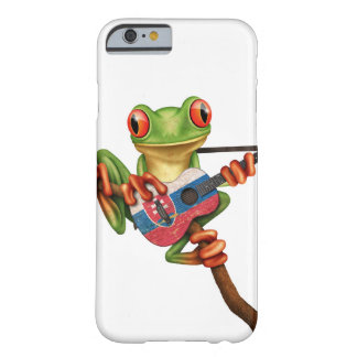 Tree Frog Playing Slovakian Flag Guitar White Barely There iPhone 6 Case