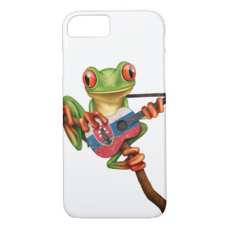 Tree Frog Playing Slovakian Flag Guitar White iPhone 7 Case