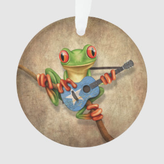 Tree Frog Playing Somalian Flag Guitar Ornament