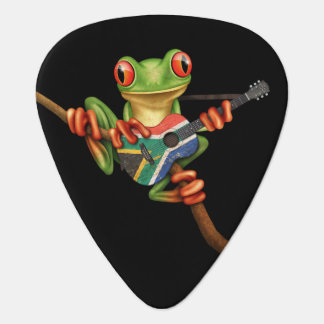 Tree Frog Playing South African Flag Guitar Black Guitar Pick