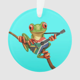 Tree Frog Playing South African Flag Guitar Blue