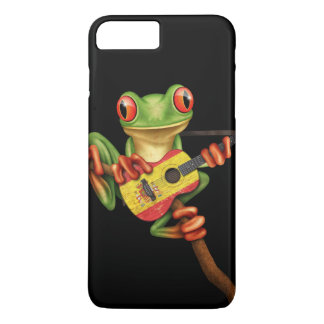 Tree Frog Playing Spanish Flag Guitar Black iPhone 7 Plus Case