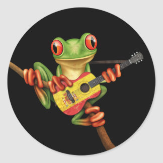 Tree Frog Playing Spanish Flag Guitar Black Round Sticker
