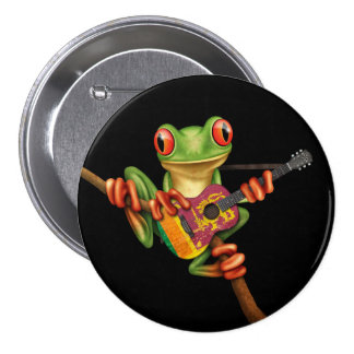 Tree Frog Playing Sri Lanka Flag Guitar Black Button