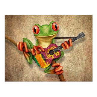 Tree Frog Playing Sri Lanka Flag Guitar Postcard