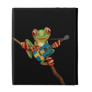 Tree Frog Playing Swedish Flag Guitar Black iPad Cases