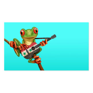 Tree Frog Playing Syrian Flag Guitar Blue Business Cards