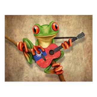 Tree Frog Playing Taiwanese Flag Guitar Postcard