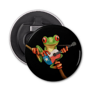Tree Frog Playing Texas Flag Guitar Black Button Bottle Opener